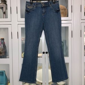 Cache Gold Embellished Contoured Jeans Size 6